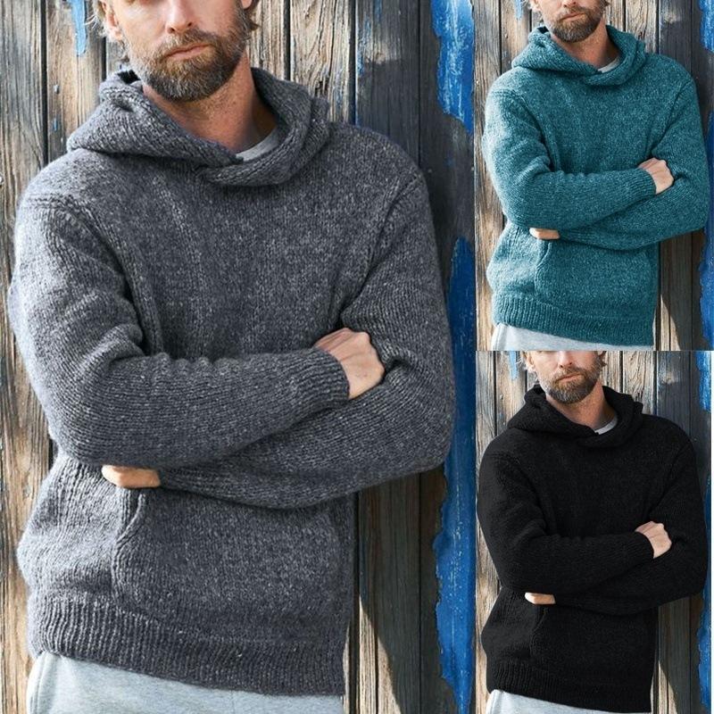 Color sólido suéteres casuales Invierno con capucha Top Pullover de manga larga Moda de suéter