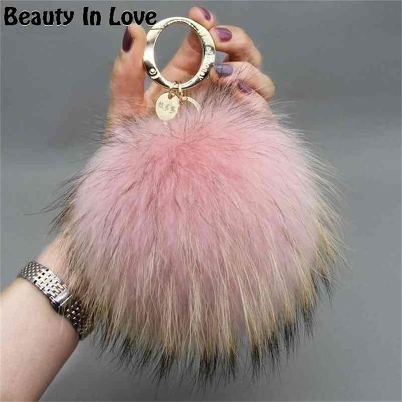 Luxe 15cm Fluffy Real Fox Pom Pom Poms Pompom Ball Haute Qualité Porte-clés Porte-clés Pendentif pour femmes F281 210409