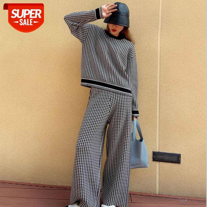 Pantsuit Bahar Sonbahar Moda Zarif Houndstooth Örme Suit Kadınlar Casual Geniş Bacak Pantolon Gevşek Kazak Iki Parçalı Setleri Kıyafetler Femal # 423k