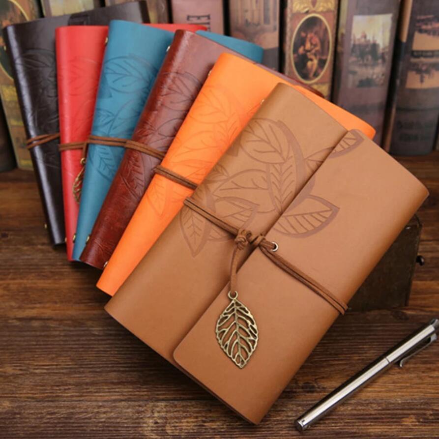 Vintage hoja Cuaderno Diario Diario Bloc de notas PU Cuero Espiral Literatura Cuaderno Papel Reemplazable Planeadores Planeadores Escuela Papelería Regalo