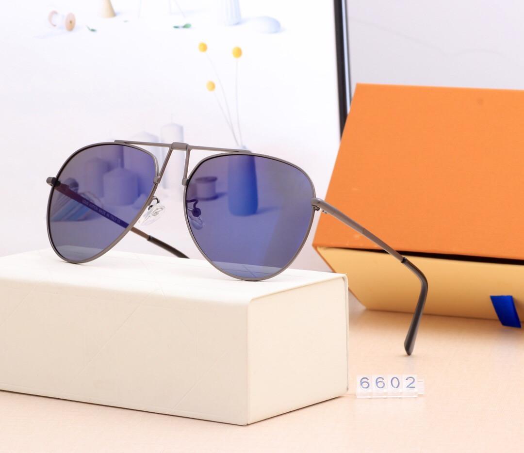남자 레저 운전 선글라스 브랜드 디자인 UV400 안경 금속 골드 프레임 태양 안경 남자 미러 6602 폴라로이드 유리 렌즈