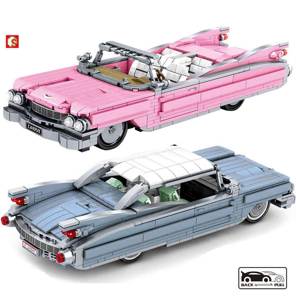 SEMBO BLOCK Creator High-Tech Retro Car Building Blocks Moc Bricks Classic Cars Toys Car Model Christmas Gifts For Kids Toys Boy 210330
