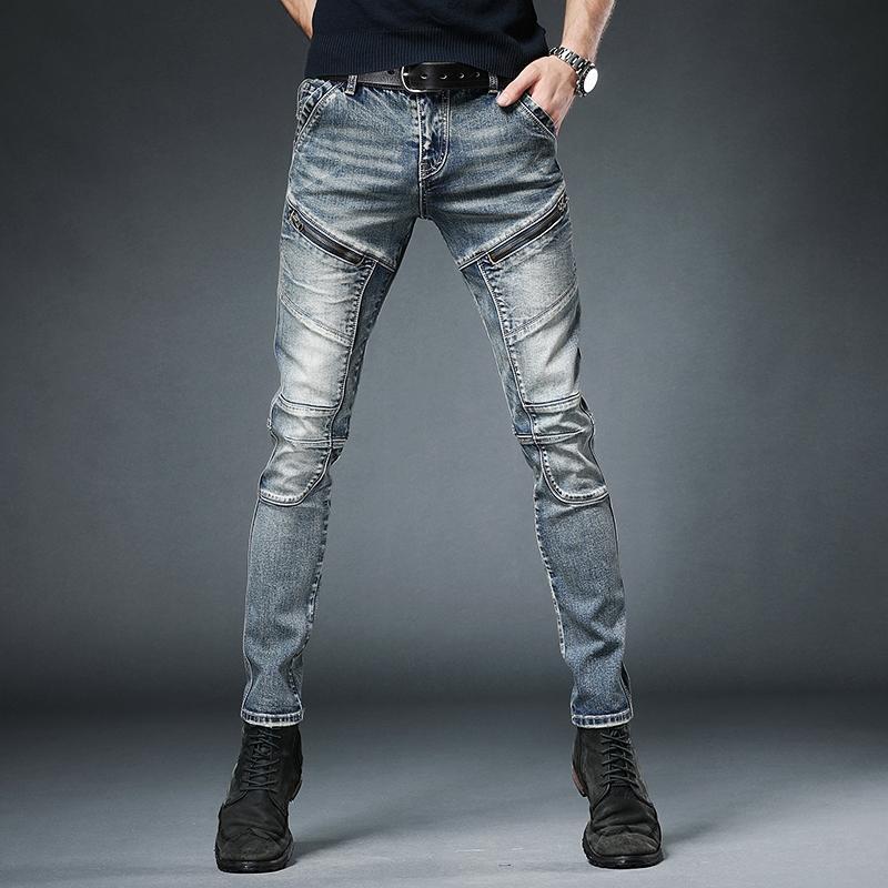Jeans masculinos moda masculino outono inverno calças ins retro costura zíper multi-bolso magro macacão