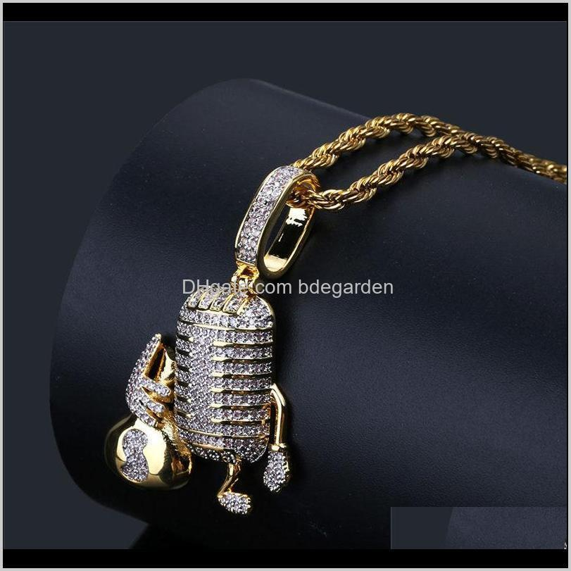 Necklaces Microphone Holding Us Money Bag Necklace Three Colors Iced Cz Cubic Zircon Pendant Fashion Charm Hiphop Jewelry For Men Wsxx Rrhgw