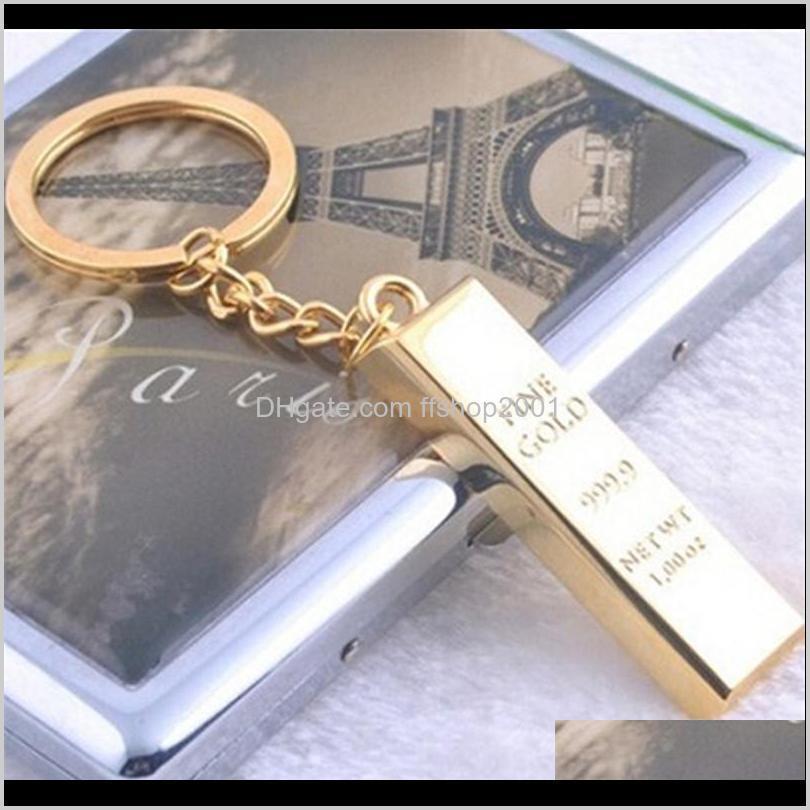 Брелок для моделирования Brings Brick Keychain KeyRings Key Rings Metal Gold Bullion Bag висит мода ювелирные изделия Christams подарок 170530 EFCBP Myavb