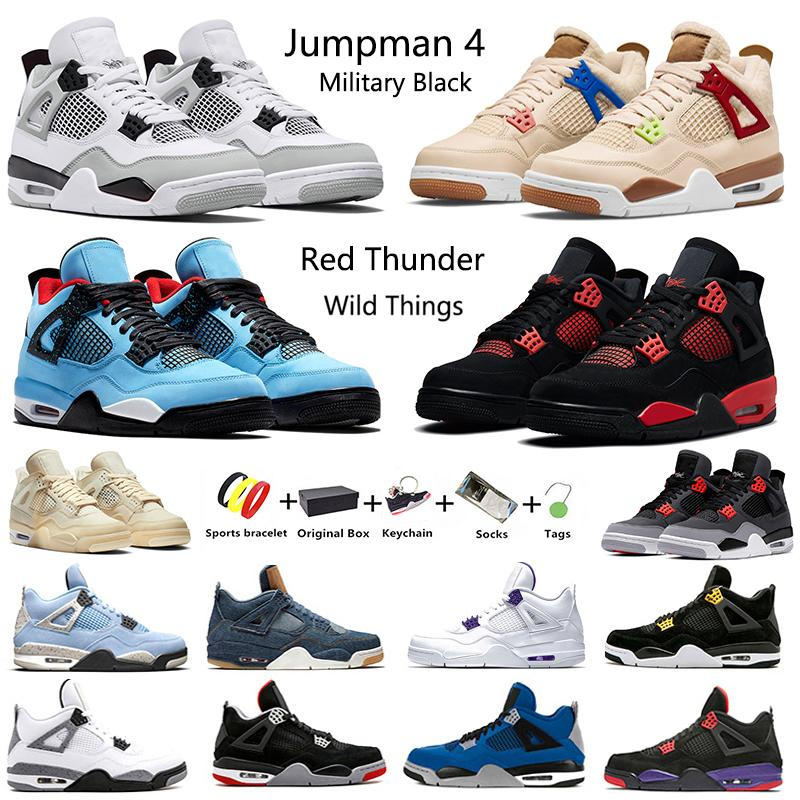4 Retro Segel Neon Jumpman 4 Herren Basketballschuhe Cactus Jack Metallic Pack Royalty Schwarze Katze Pure Money White Cement 4s Herren Sport Designer Sneakers