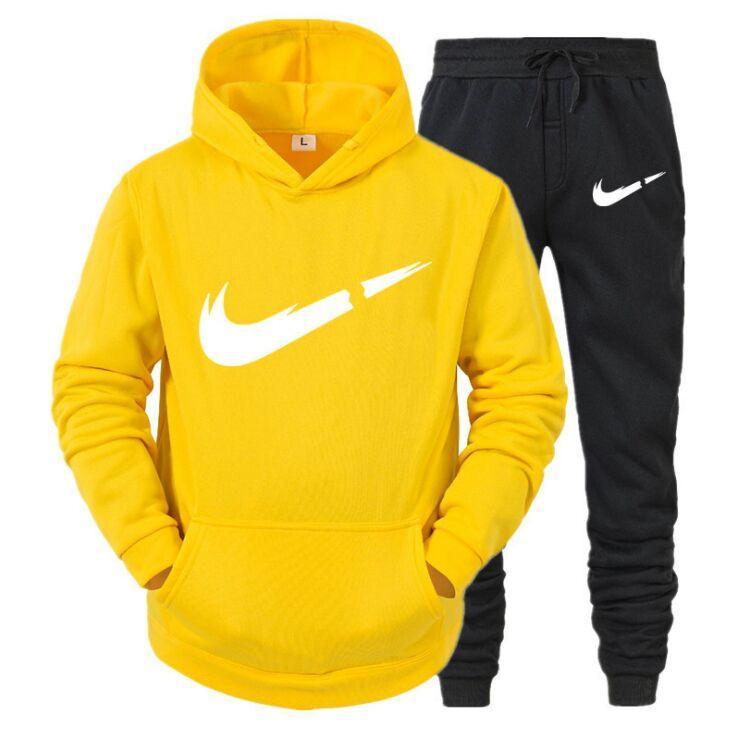 TRACKSUIT Fashion Fashion Felpa con cappuccio Sport Shirt + Pantaloni Astuccio 2021 Primavera e autunno Fleece Bovina con cappuccio Pullover 2 pezzo