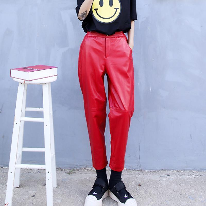 السراويل النسائية كابريس المرأة فاشين الأسود الأحمر أنيقة جلد طبيعي عالية الخصر طويل أنيق الحريم مع جيوب السراويل النسائية 3xl