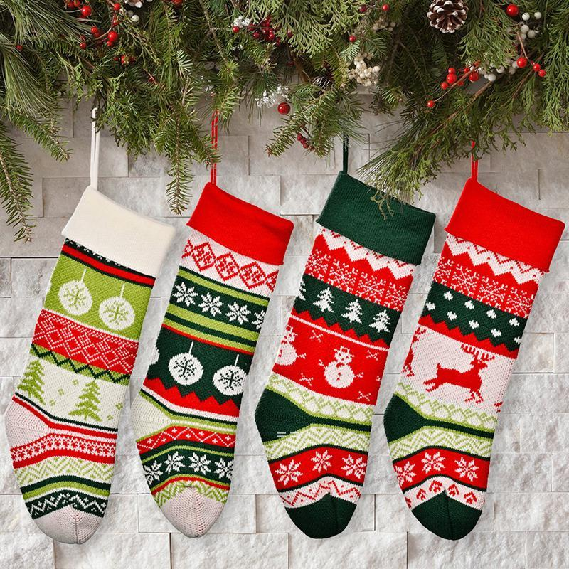 جوارب عيد الميلاد محبوك مدفأة أشجار عيد الميلاد السرير شنقا الديكور الأطفال هدايا مهرجان ملون رائع زيادة HHF10711