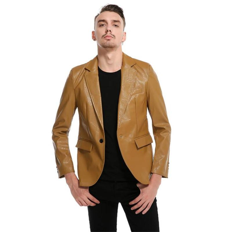 Men PU Jackets Men's Classic Suit Fashion Single Button Leather Jacket Male Blazer Dress Veste DFF3438