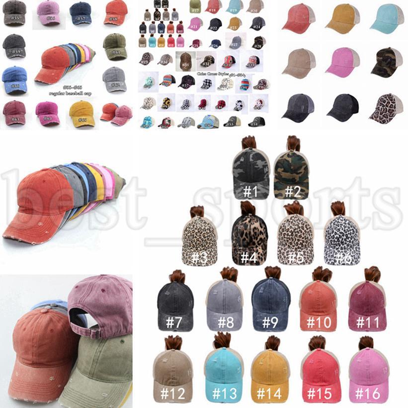 Boné de beisebol de rabo de cavalo 65 estilos lavado angustiado bolos bagunçados ponycaps leopardo pai papai camionista chapéu desporto ao ar livre ajustável chapéus CYZ3224
