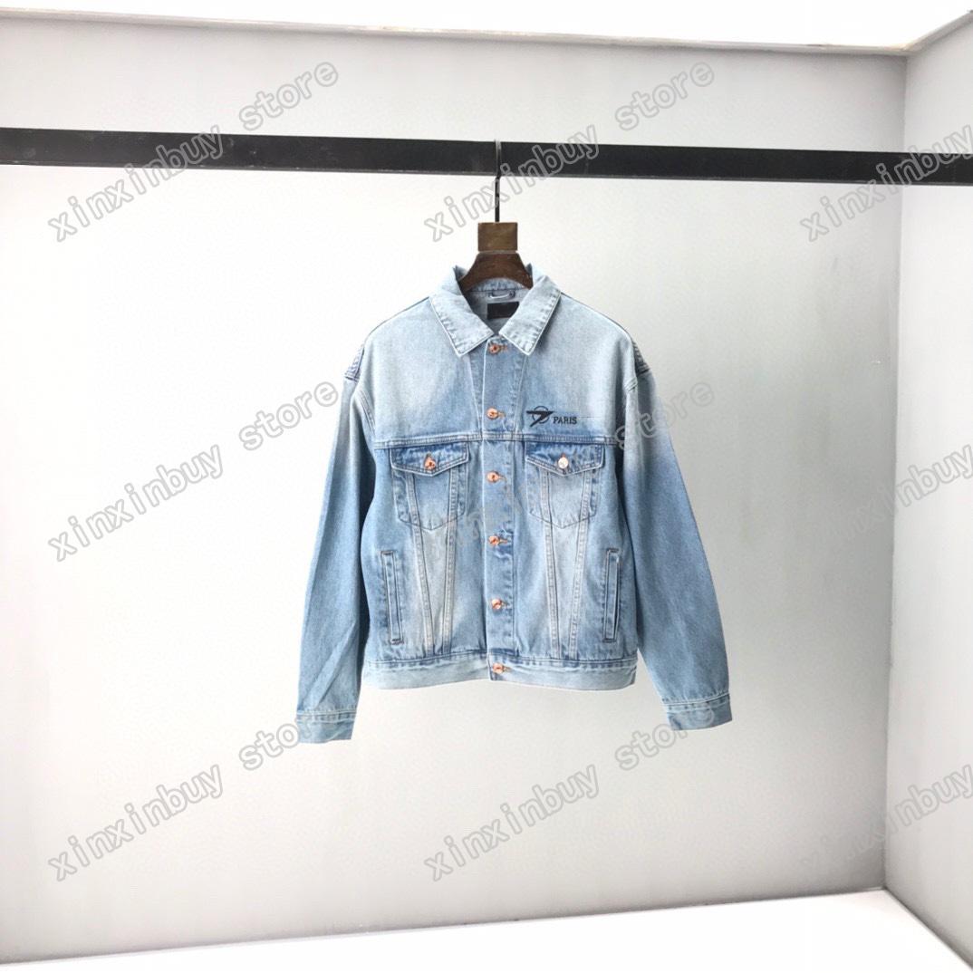 21SS Man Designer Giacche Denim Ventilatori Vestiti Forbici Ricamo Mens Cappotti Capispalla Capispalla Abbigliamento Abbigliamento Blu Grigio Blu