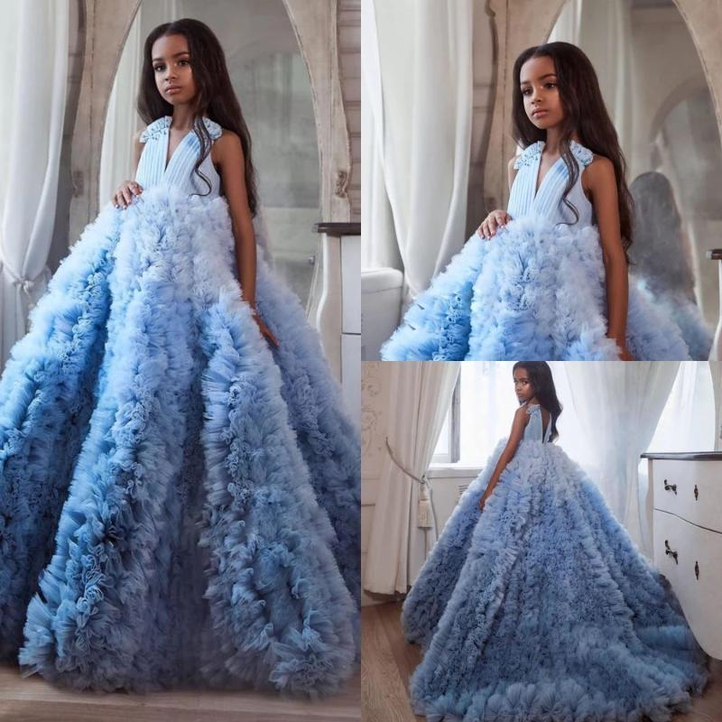 Ruffled flores meninas vestidos para casamento sem encosto em v pescoço apreciado vestidos de pageant varrer trem tulle crianças vestido de baile