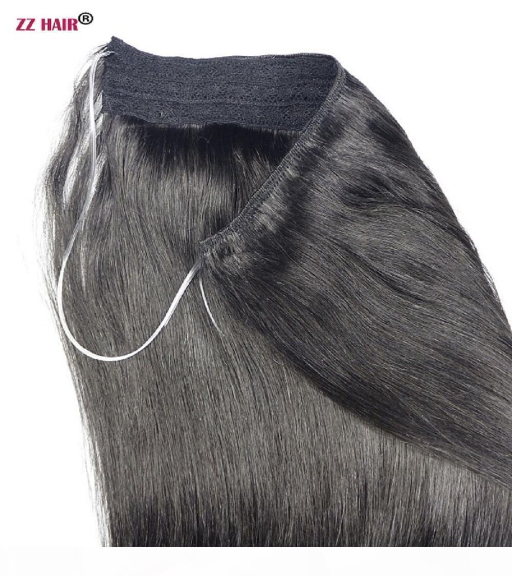 "16 ""-28"" 100% Brezilyalı Remy İnsan Saç Balık Şarap Halo Saç Insan Saç Uzatma 1 ADET Set Klip Olmayan 120g Doğal Straig"