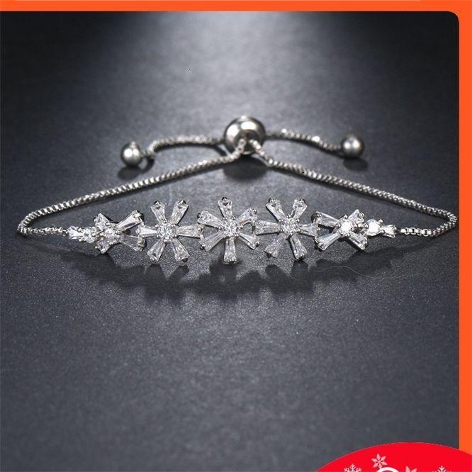 Luz luxo flor zircon versão coreana linda sorrir amigo pulseira
