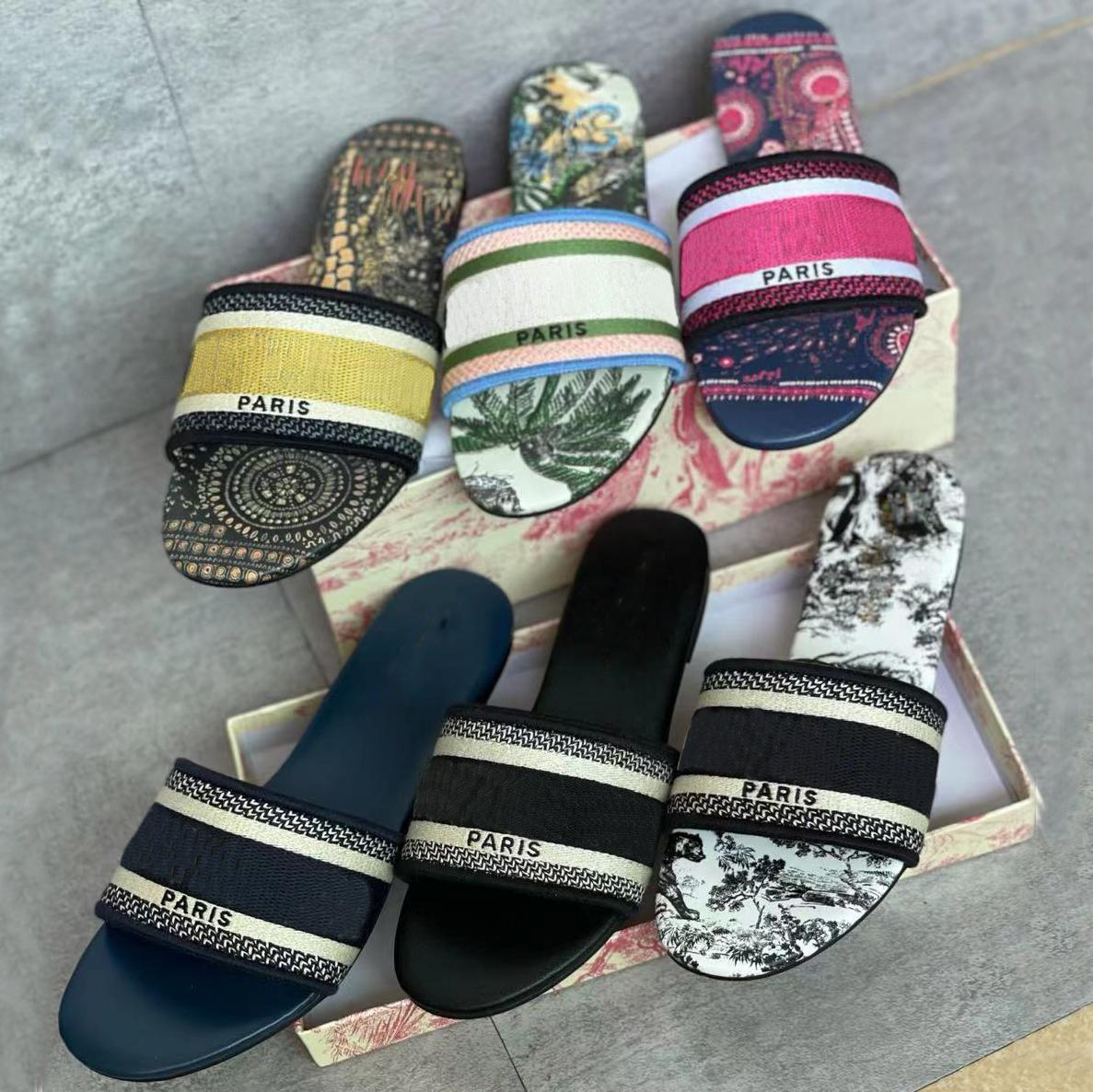 2021 Designer Dway Slides Women Flat Slipper Embroidered Cotton upper Sandal Multicolor Fashion Summer Beach Sexy Slippers Flip Flops Top Quality With Box