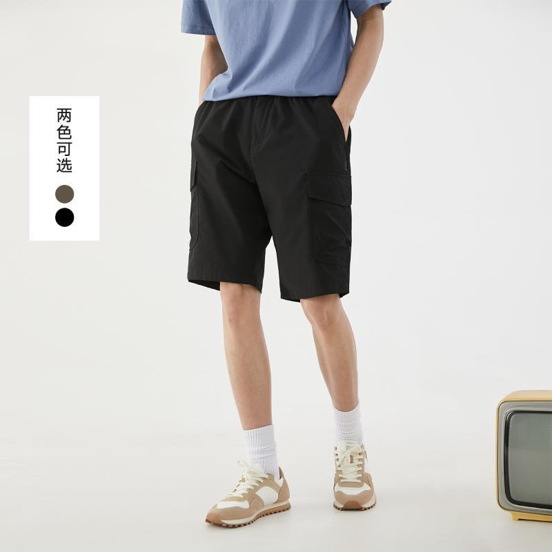 Jeans masculinos moda fina respirável casual shorts 2021 botão de verão cintura solta macacão para homens