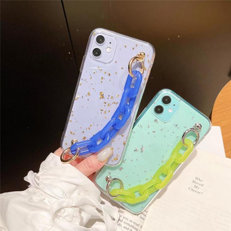 Corrente de aperto de suporte macio TPU Capas de telefone de ouro moda transparente tampa transparente para iphone 7 8 x xr max 11 12 pro