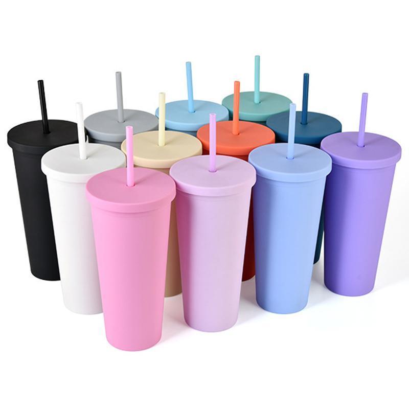 2coz mate coloreado acrílico botellas de agua tumblers con tapas y pajitas de doble pared plástico vaso de taza de plástico por mar