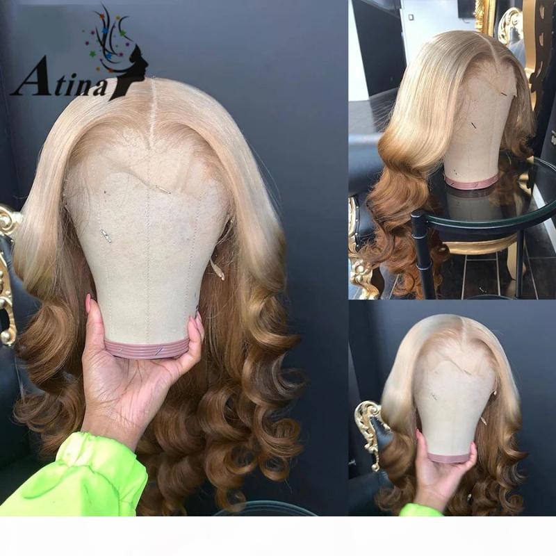 OMBRE 613 Медовая блондинка цветная волна тела человеческие волосы парик предварительно сорванные HD прозрачные безразличные кружевные парики фронтальные полное закрытие