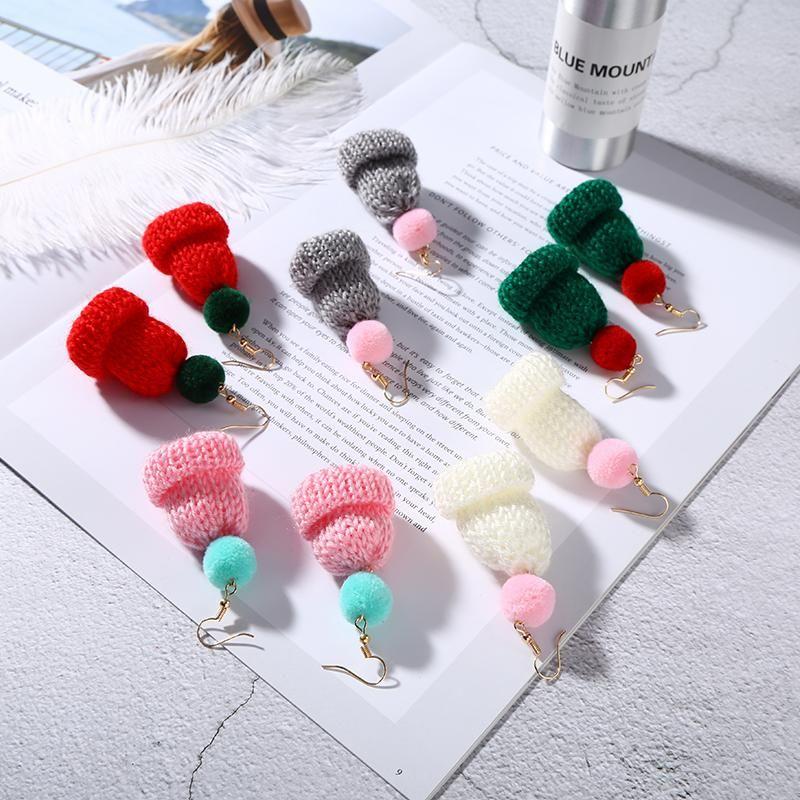 Cute Pink White Red Green Little Knitted Hat Venonat Dangle Earrings Personalized Drop For Women & Chandelier