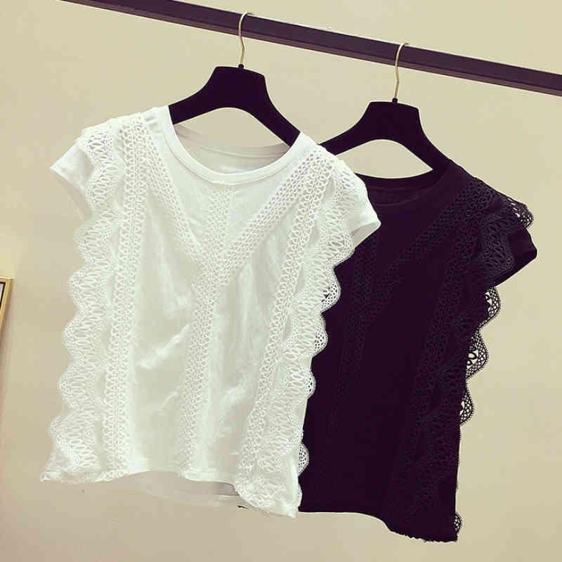 Vêtements de mode Plus Taille Solide Shirt Femmes Blouse Été Femmes Tops et Blouses Dentelle Patchwork Blusas 210420