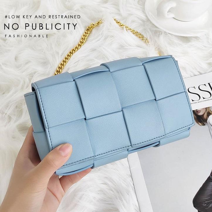 Top Womens Bag Moda Alta Qualidade Bolsa de Lazer Ao Ar Livre Cor Pura Crossbody Woven Design Mini Bolsa de Couro Genuíno Quadrado
