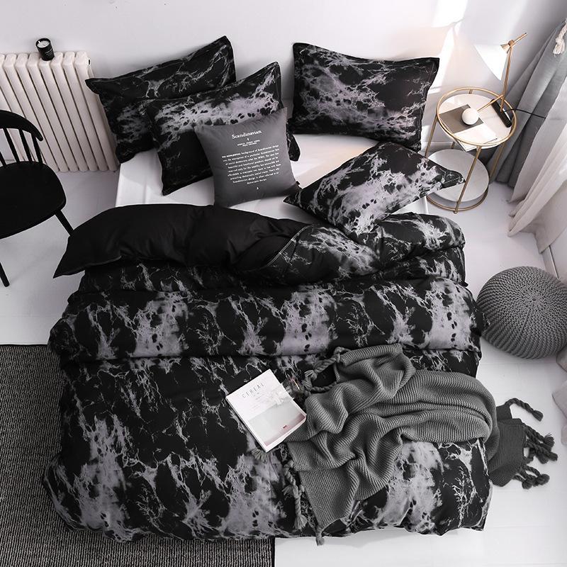 41 Yatak Seti Süper Kral Nevresim Setleri 3 adet Mermer Tek Kraliçe Boyutu Siyah Taş Yorgan Yatak Çarşafları Pamuk 200x200 1461 V2