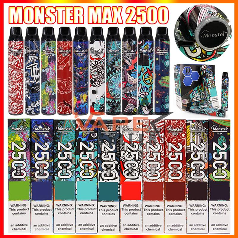 850mAh 배터리가있는 원래 몬스터 최대 일회용 vape 펜 전자 담배 장치 프리 쿼리 7.5ml 포드 2500 퍼프 스틱 펜 VS Bang 스위치 듀오