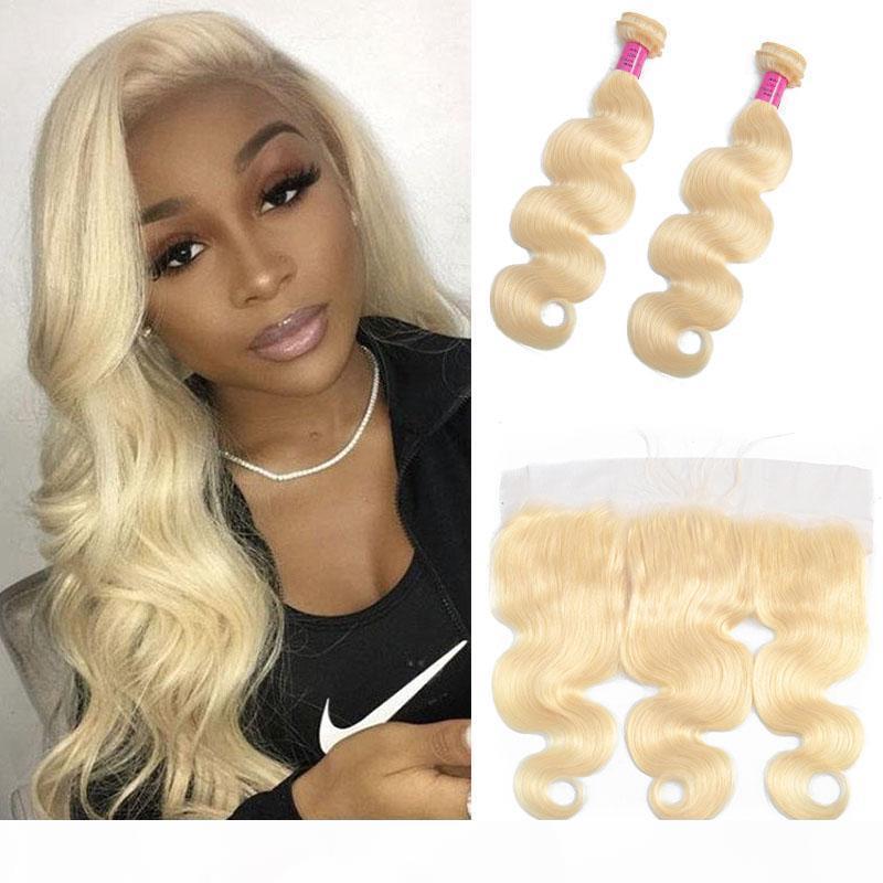 Malese 100% Capelli umani 2 Bundles con 13x4 pizzo frontale con i capelli del bambino Presocò 613 # Bionda Body Wave Bundles con Blonde frontale