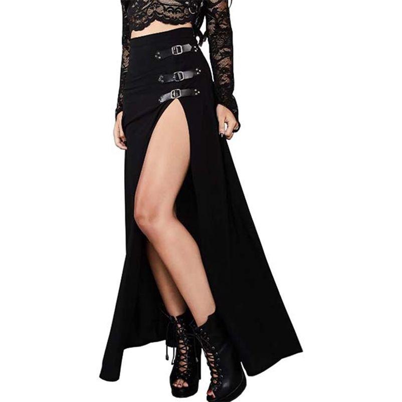 Rosetische sexy Punk Frauen Maxi Rock Hohe Taille Split Design Schnalle Gothic Black Vintage Party Rot Elegante Lange Röcke Fall 210412