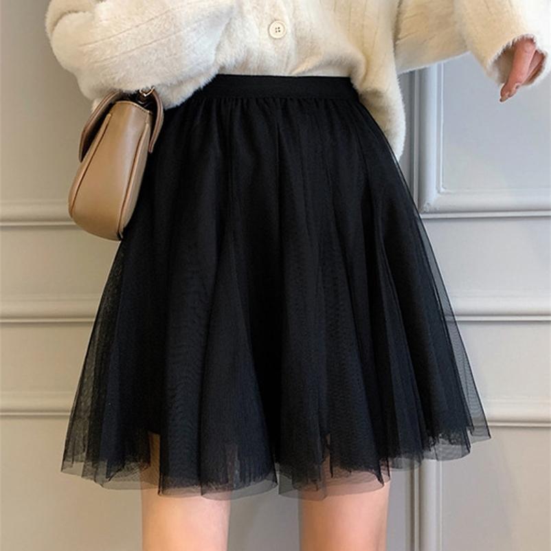 Frühling Frauen Minirock Koreanische Mesh Hohe elastische Taille Solide Schwarze Röcke Tüll Röcke Frauen Kleidung 210412