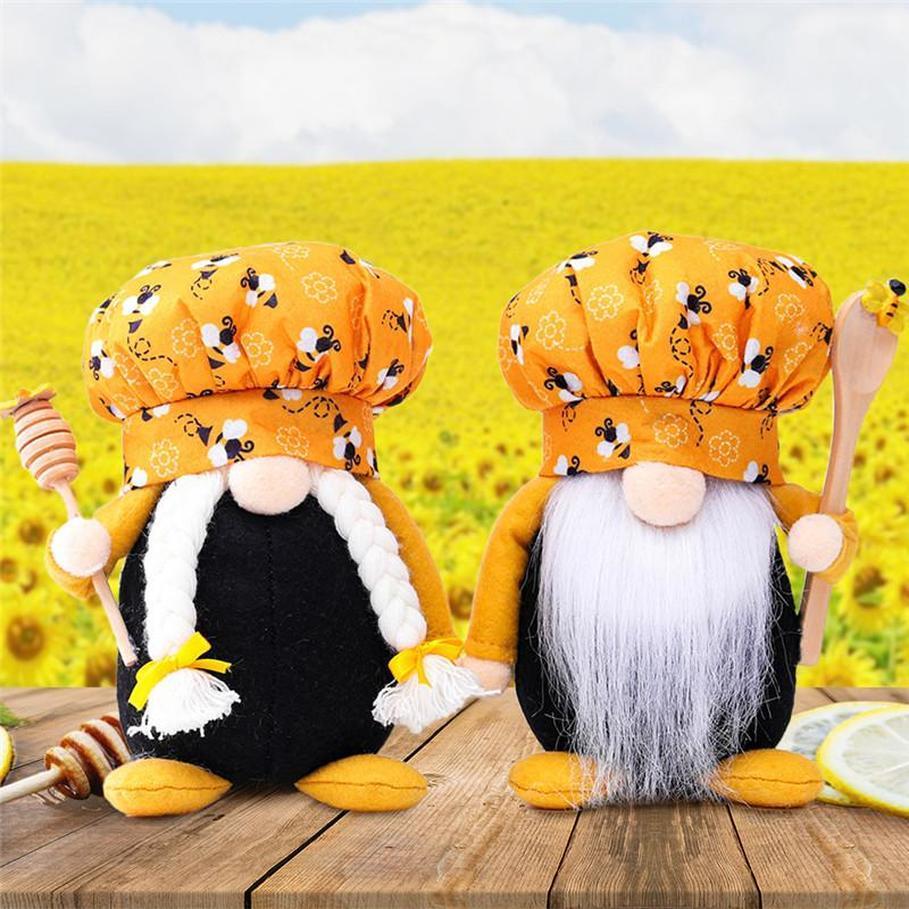 2021 최신 꿀벌 요리사 그놈 남자 Scandinavian 꿀벌 꿀벌 Dwarf 인형 얼굴이없는 꿀벌 홈 농가 부엌 장식