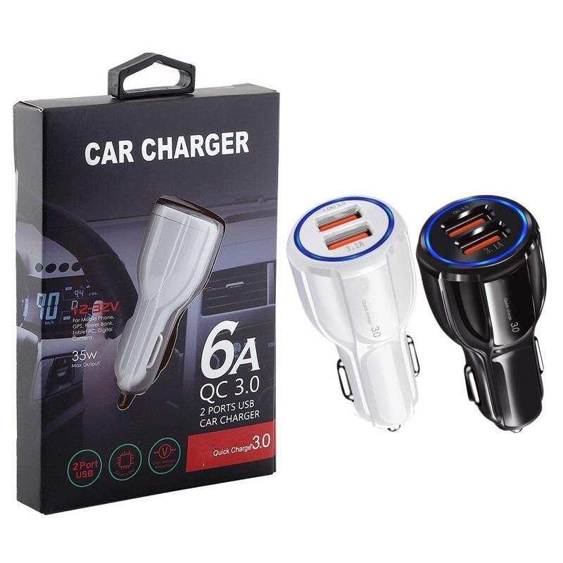 سريع التكيف سريع شحن QC 3.0 منافذ USB المزدوجة 3.1a شاحن السيارات محول الطاقة السيارات شاحن لسامسونج S7 S8 مع مربع المحبط
