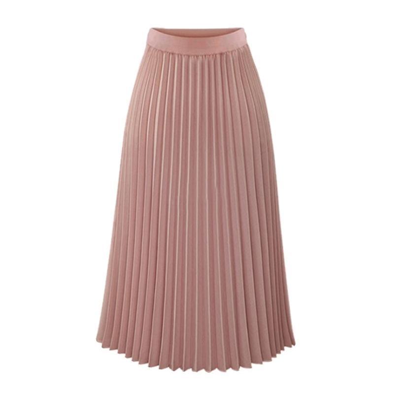 Faldas Largas Plissee Sommer Weiße Chiffon Röcke Frauen Hohe Taille Lose Lässig Vintage Büro Rosa Rock Jupe Longue Femme 210412