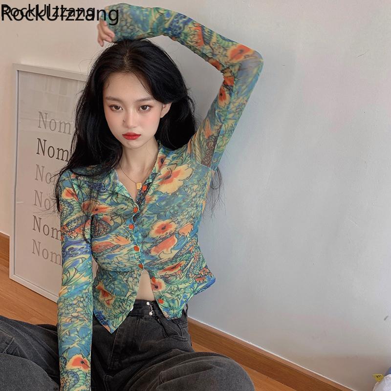 Women Slim Short Long Sleeve Dragon Flower Graffiti Printed Button Blouse Korean Autumn Crop Top Bandage Harajuku Sexy Tee Shirt