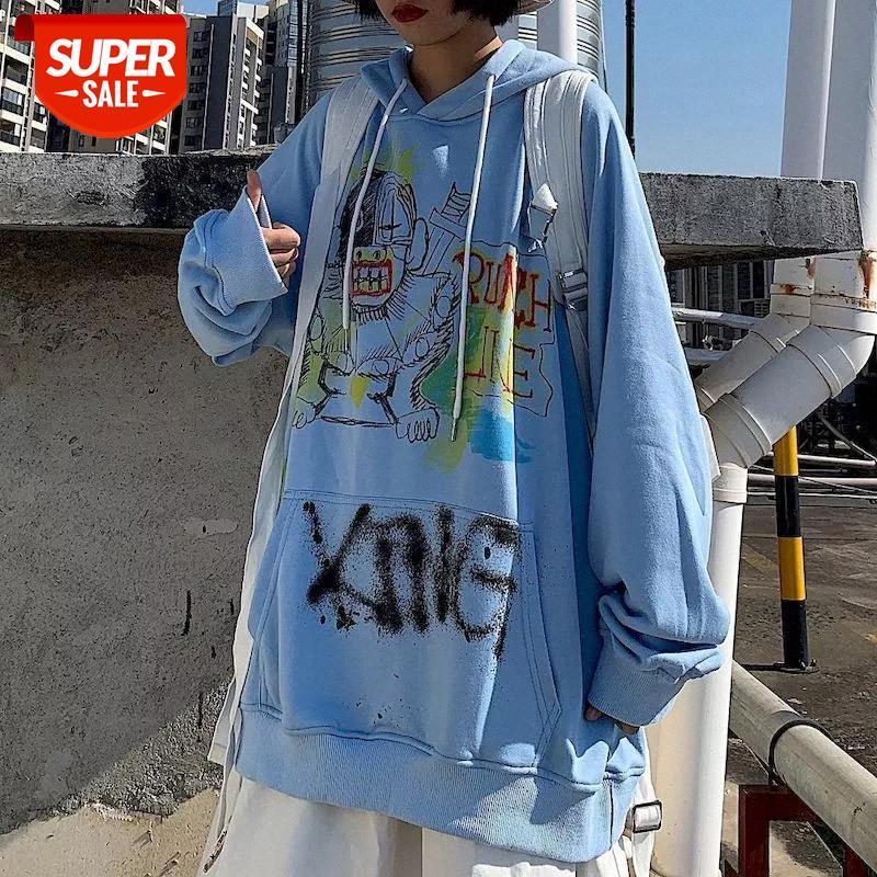 Сладкая толстовка женские толстовки женские корейские топы Ins Harajuku BF ветер граффити мультфильм печать свободно плюс бархат студент куртка # DW78