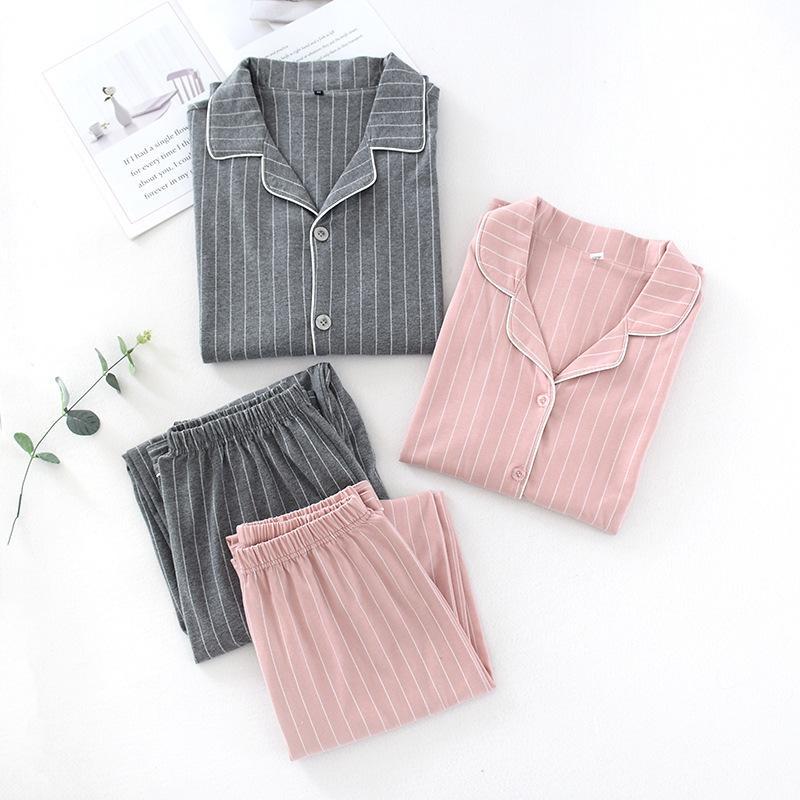 100% Baumwolle Frauen-Pyjamas-Sets-Sets-Abzugs-Hals-Hemd + Hosen Komfort-Langarm-Streifen-Pyjamas weiblicher Herbst Home Wear Y0112