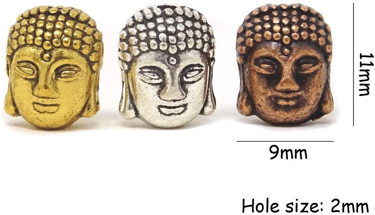 Composants Tsunshine Bouddha Petites perles de métal spirituel Mélanger Couleurs Argent / Or / Bronze Spacer pour fabrication de bijoux Bracelet