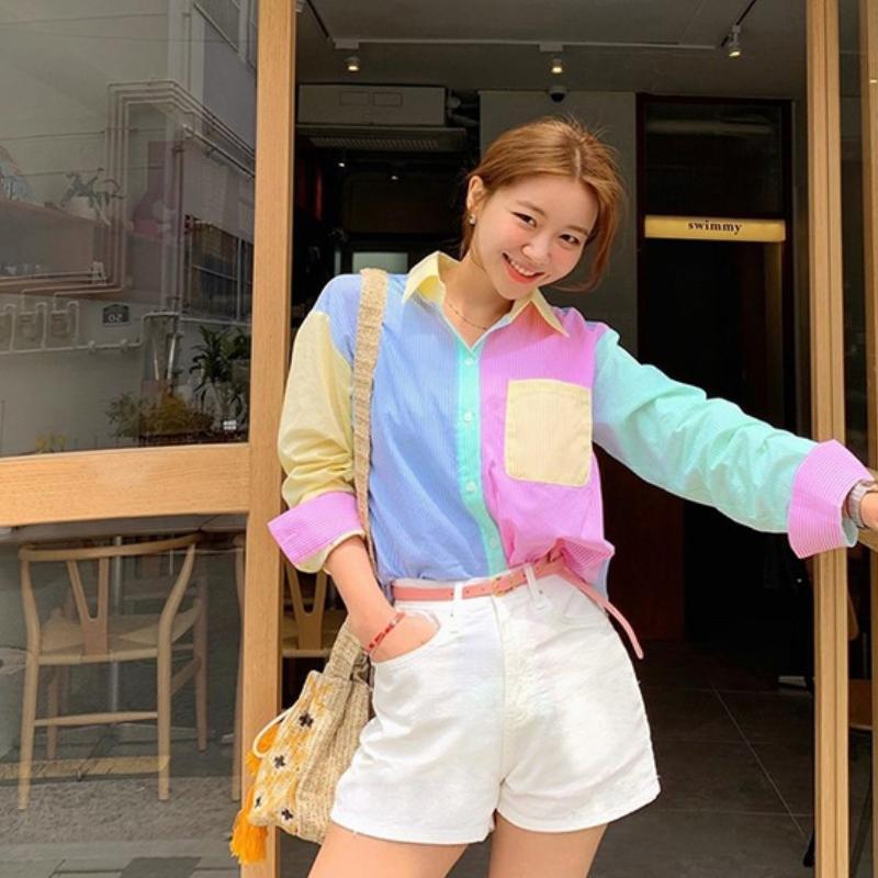 Koreanische stil tops frauen button bluse büro dame rosa blau hemd eleganzumschlagkragen langarm 2021 neue ankunft