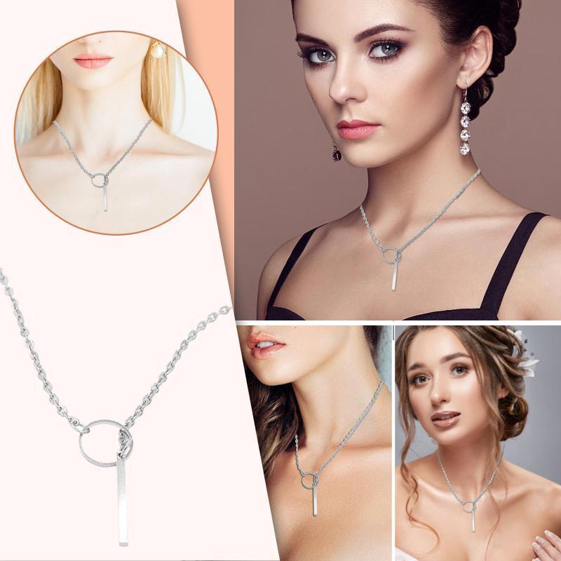 Collares colgantes Femenino Irregular Personalidad Elongado Collar Ladies 2pc Golden y Sliver Moda Joyería simple 21706