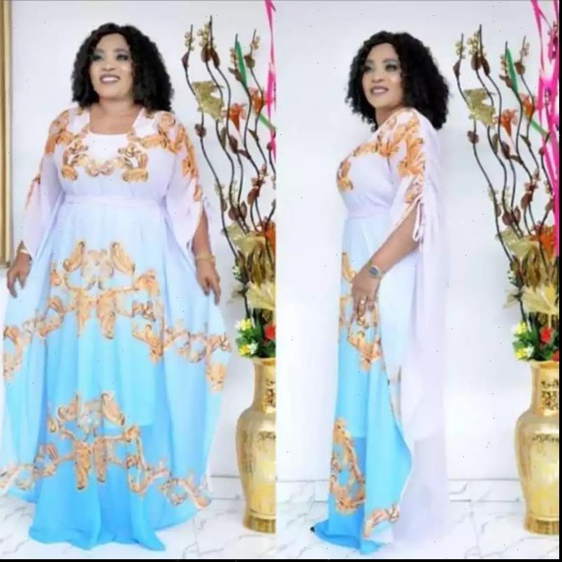 Afrikanische Frauen Kleid Kleider für Frauen Herbsthimmel Blau Afrika Kleidung Muslim Lange Maxi Hohe Qualität Mode Chiffon Lady