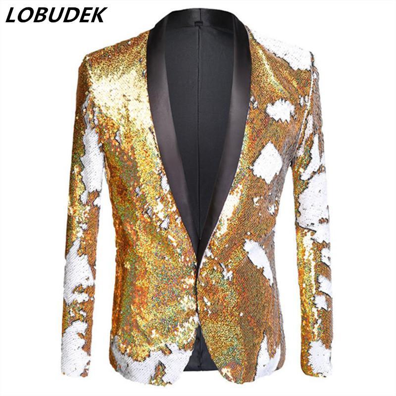 PLUS Taille Gold Blanc Double Color Color Ensemble Blazers Singer Bar Nightclub Stupé Scole Performance Costume Hôte de mariage