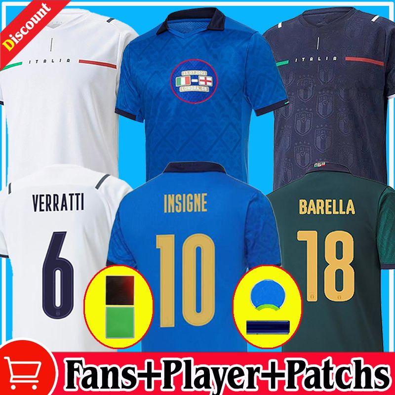 2021 2022 fãs Versão do jogador Itália Final Futebol Jerseys Bonucci Barella Insigne 20 21 22 Chiellini Italia Verratti Maglie da Calcio Chiesa Chi Camisetas Futebol