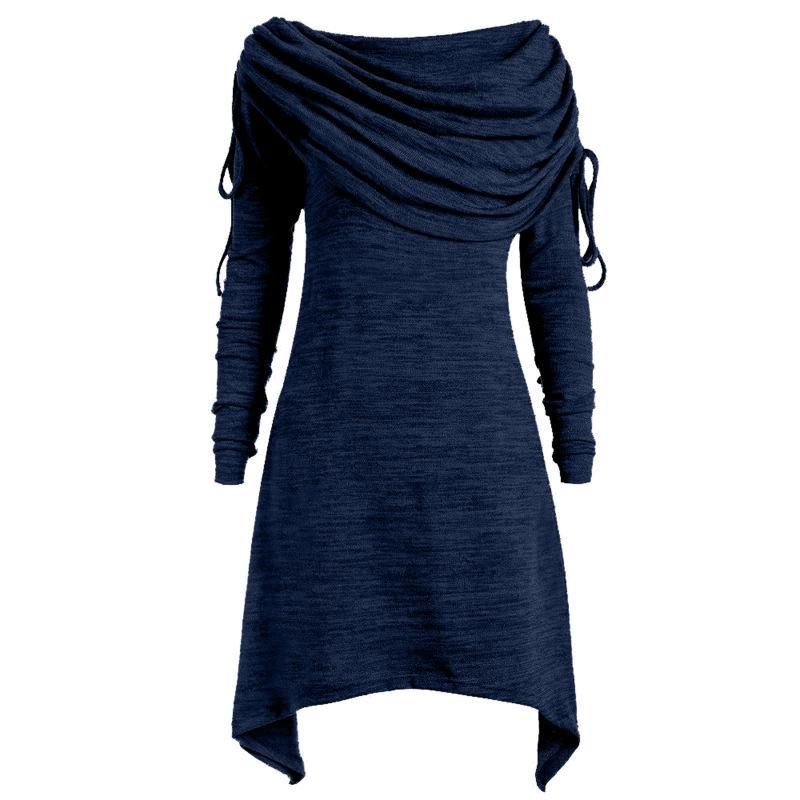 Talla grande para mujer Blusas de moda Sólido ruchado Largo plegado Cuello Túnica Top Blusa Tops S-5XL Camisetas Suéteres Mujeres Mujeres