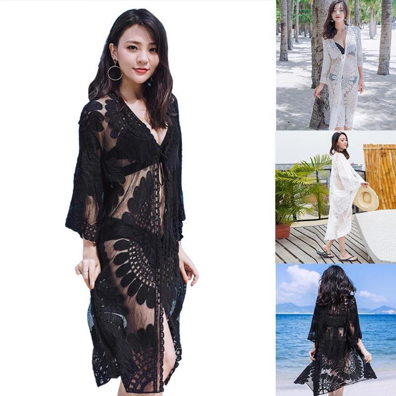Yaz Yedi Noktalı Kollu Dantel Plaj Elbise Güneş Koruma Giyim Kadın Uzun Bölüm Kapak Up Mayo Kadınlar Sarımonglar