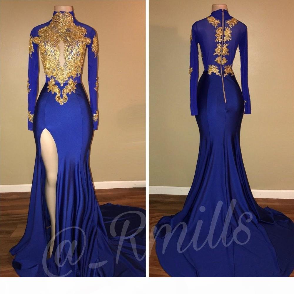 2018 Party Prom Dresses Royal Blue Vintage High Collar Gold Lace Applique Long Sleeves Mermaid Split Side High Evening Gowns
