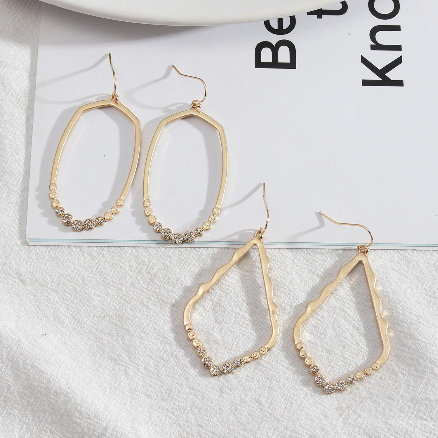 Teardrop Geometric Stud Earrings Rhinestones Crystal Designs Alloy Fashion Wholesale Party Travelling Jewelry Accessories Mujer For Women Girl