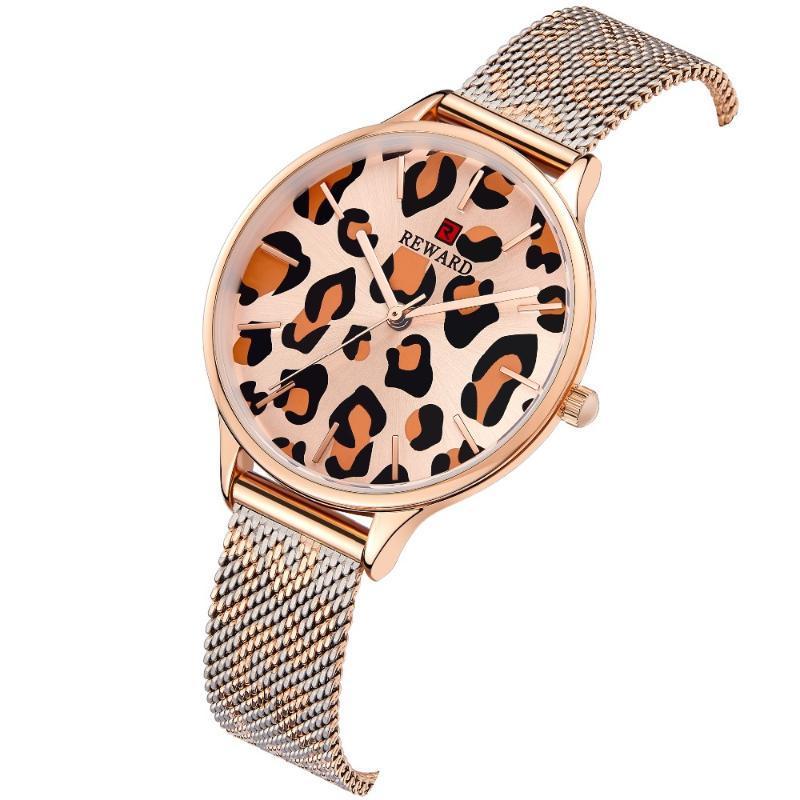 Armbanduhren Belohnung Marke Frauen Uhren Mode Leoparde Druck Design Japan Bewegung Wasserdichte Damenuhr Edelstahl Riemen Frauen