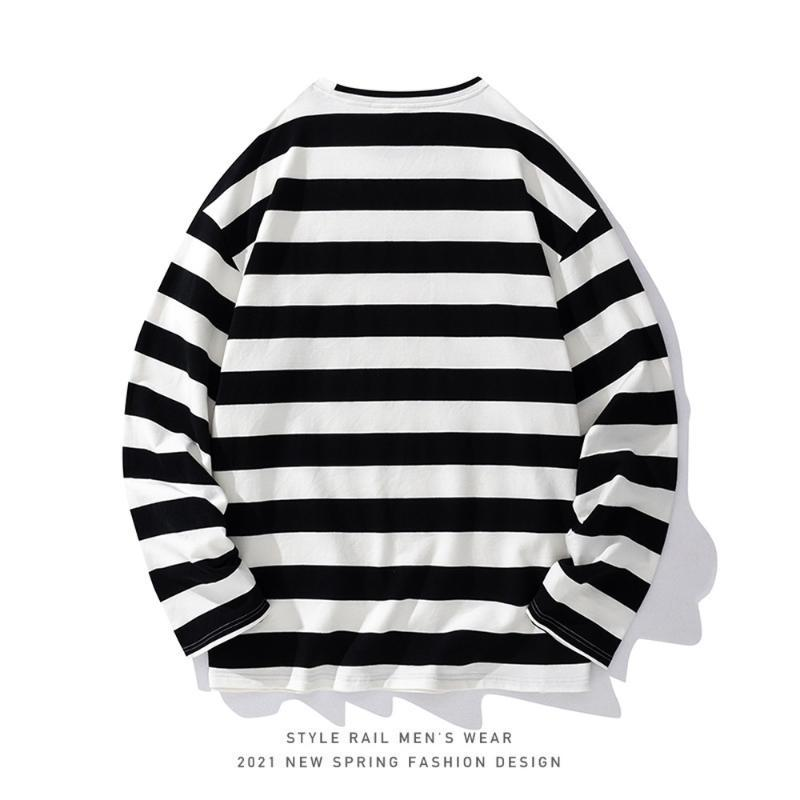 Men's Hoodies & Sweatshirts Sweateshirt Stripe Pattern Streetwear Sweatshirt Hip Hop Men Fashion Clothing Long Sleeve Shirts Harajuku Sweets
